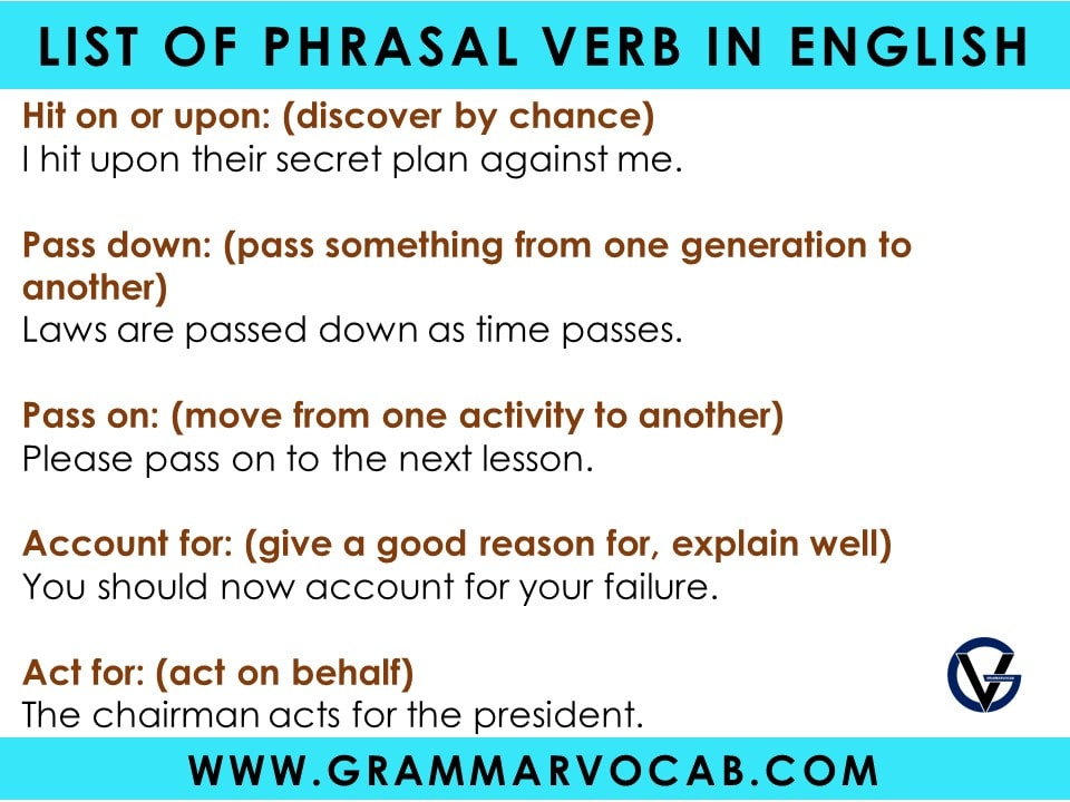 Phrasal Verbs with Meaning and Sentences