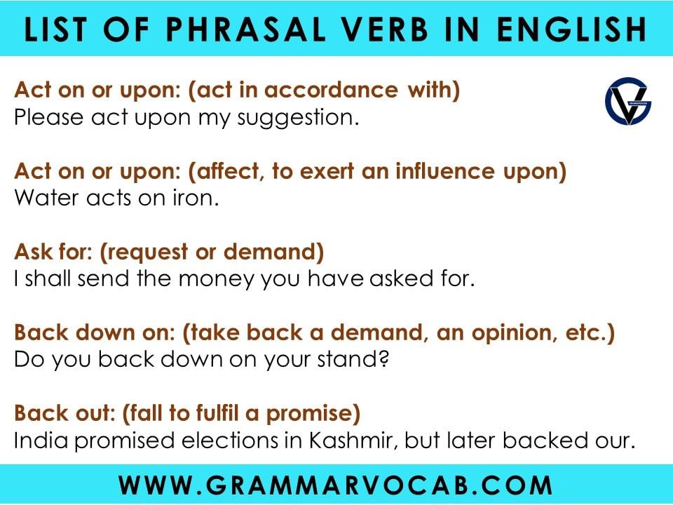 List of phrasal verbs