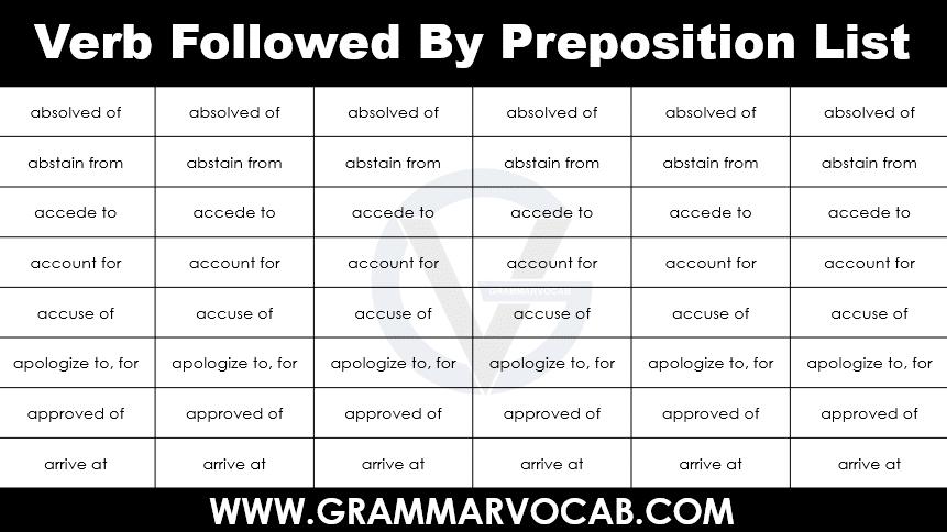 verb followed by preposition