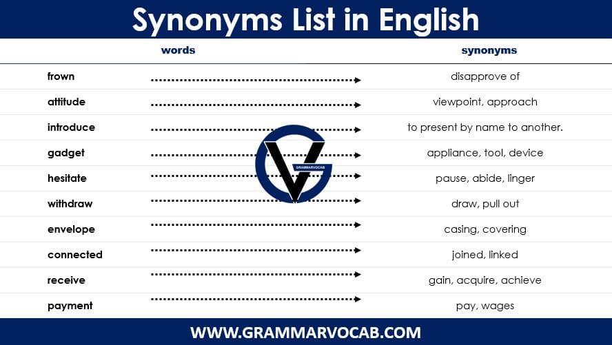 synonyms list pdf