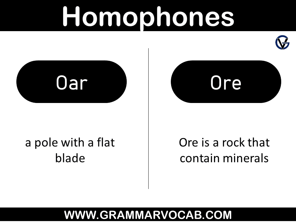 Homophones examples with meaning