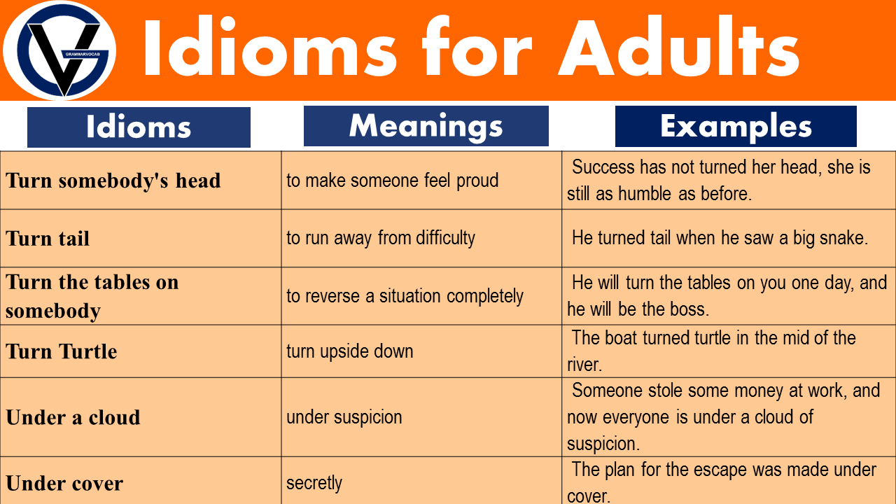 Idioms examples for Adults