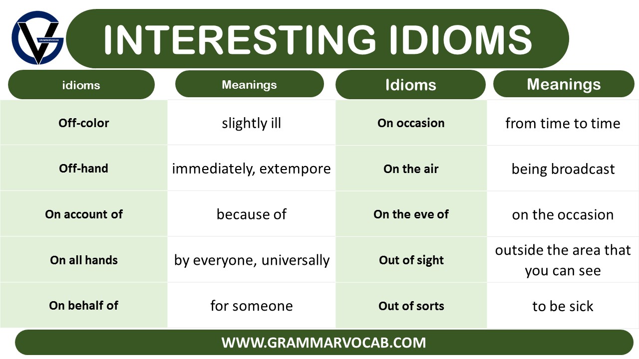 interesting idioms and their meanings
