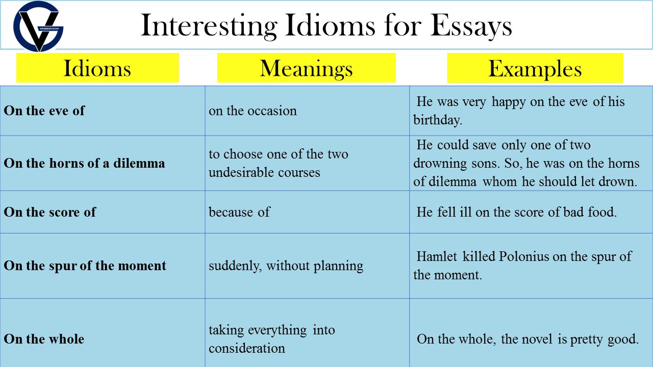 idioms for essays