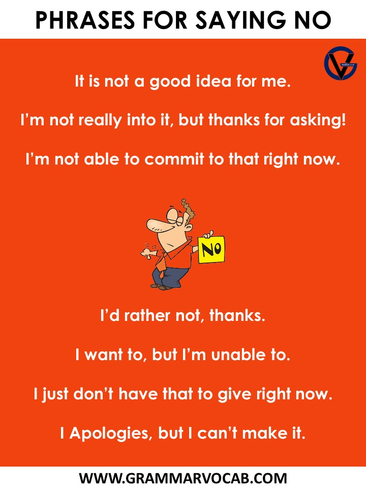 Phrases for saying no