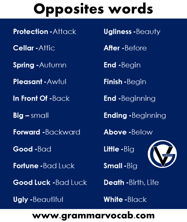 useful opposites words in English