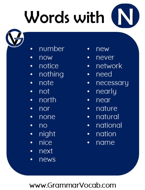 words in english with n