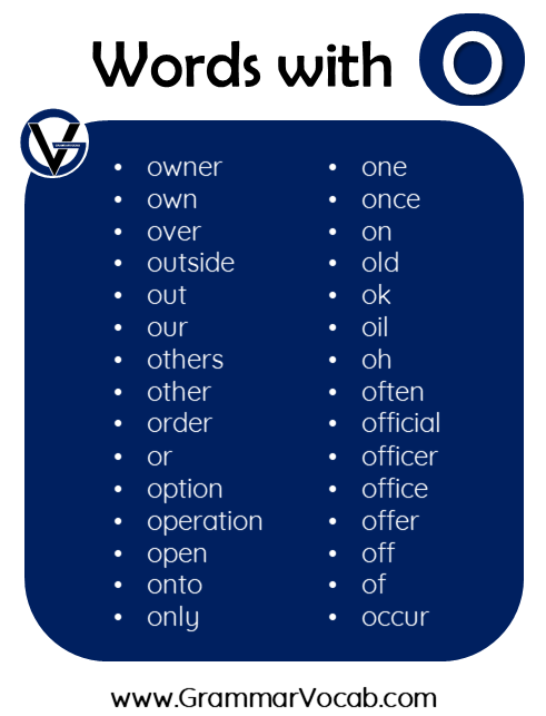 words in english with o
