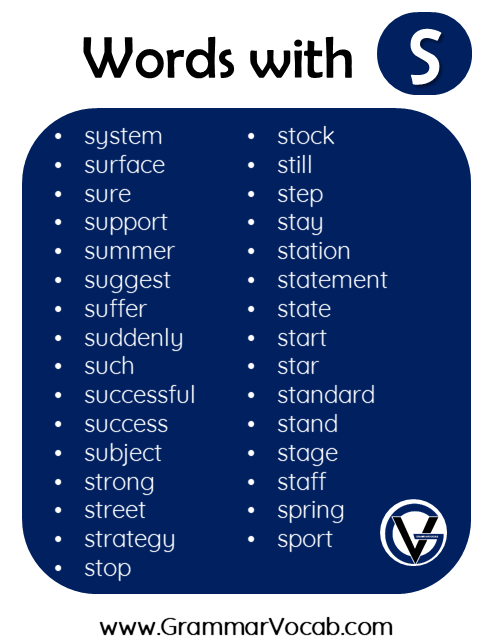 words in english with s