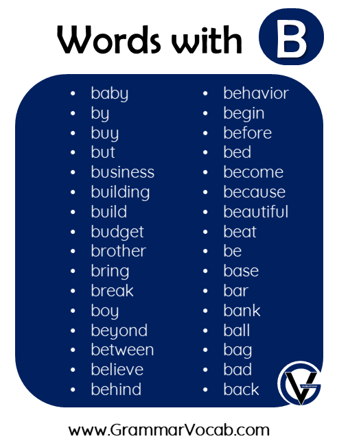 words in english with b