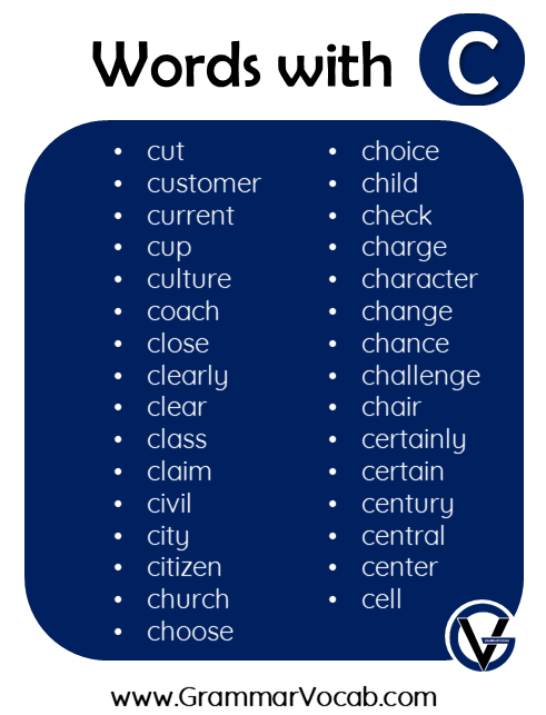 words in english with c