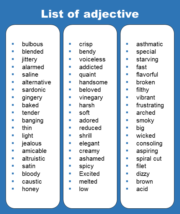 List Of All Adjective