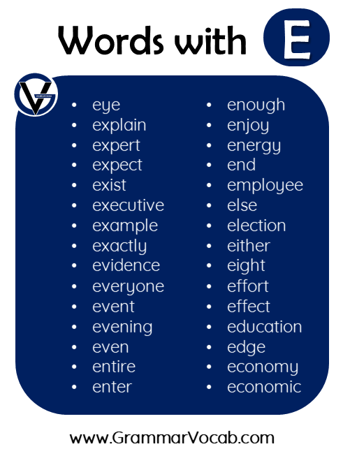 words in english with e