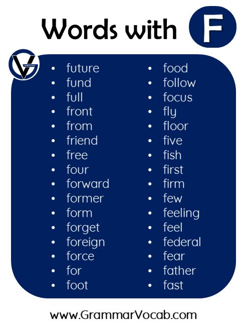 words in english with f