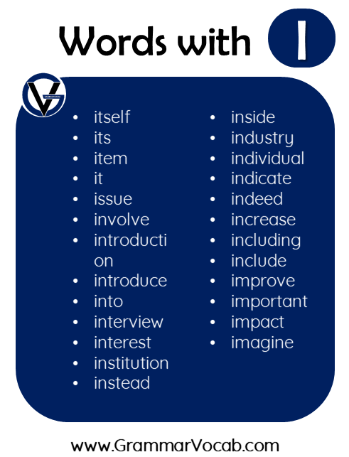 words in english with i