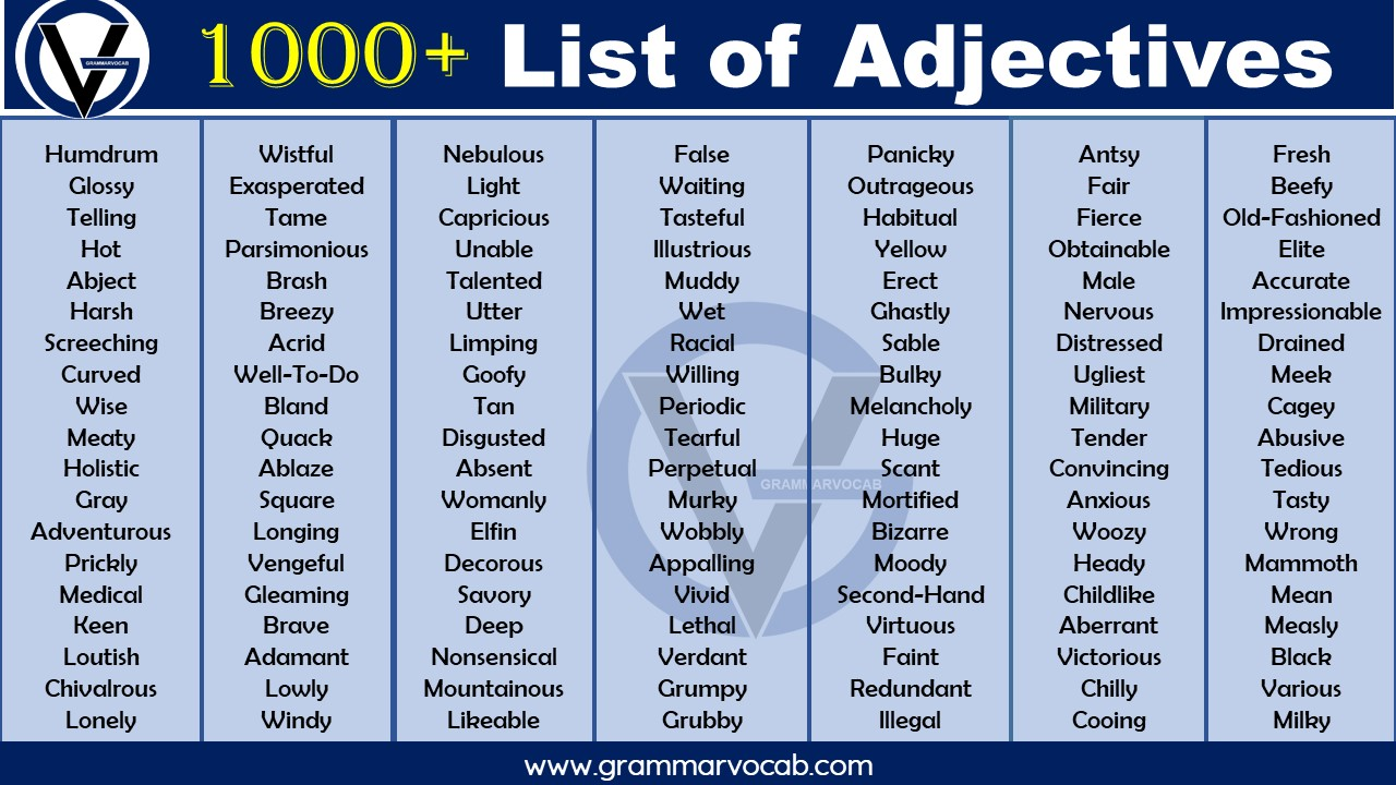 List of adjectives in english