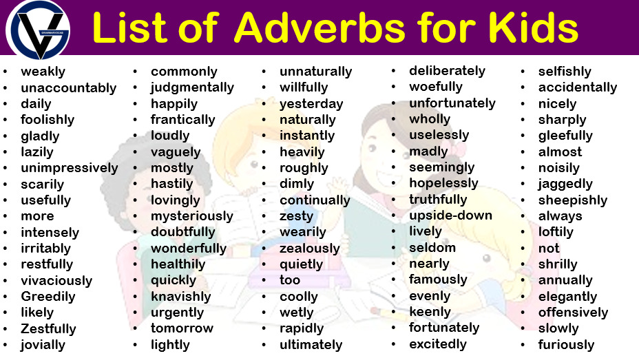 list of adverbs for kids