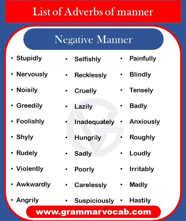 Adverbs of manner - negative manner