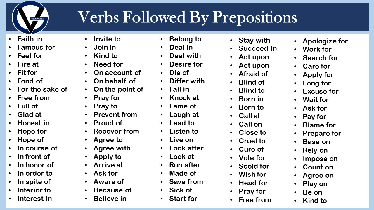 List of verbs and prepositions