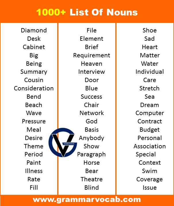 a list of nouns