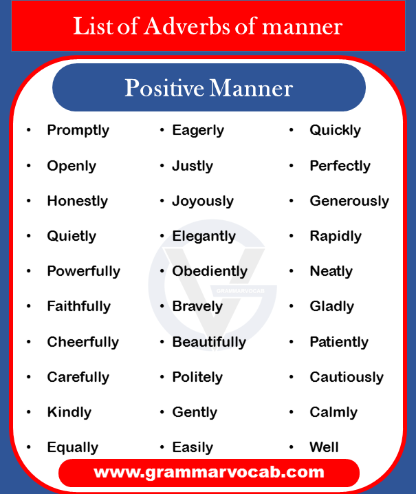 Adverbs of manner - positive manner