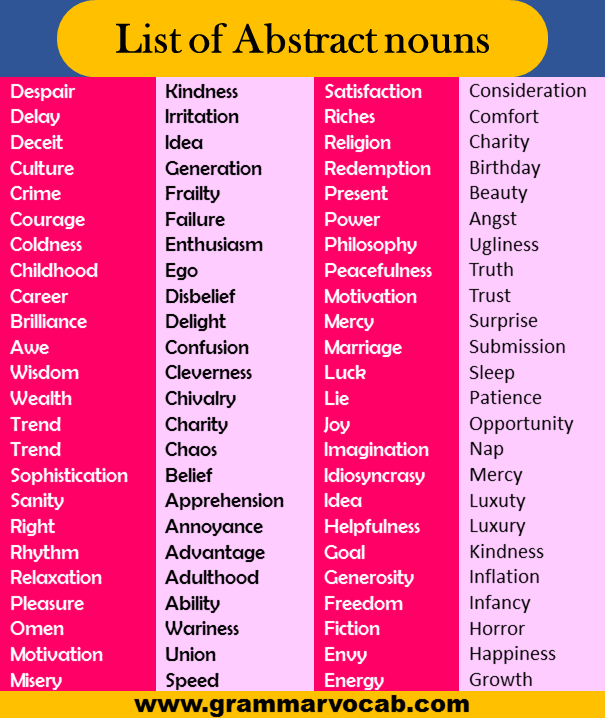 list of abstract nouns