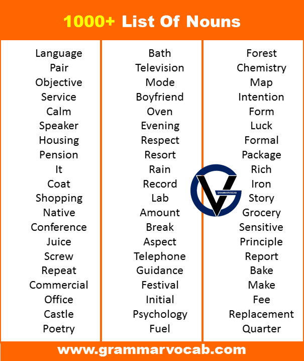 Nouns list in english