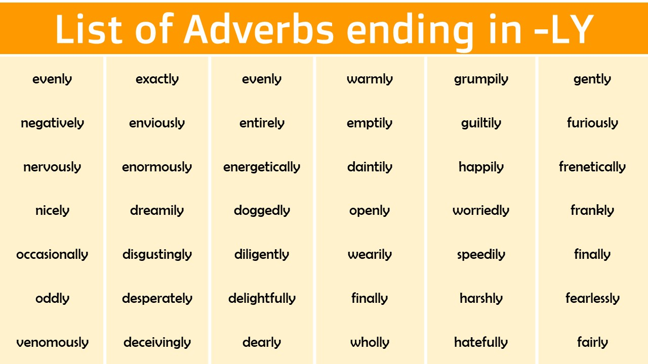List of adverbs ending in Ly