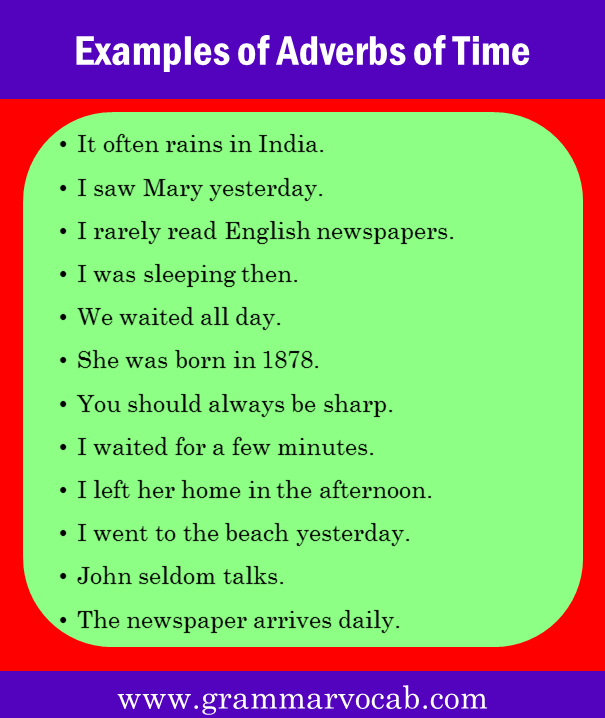 Examples of Adverbs of Time
