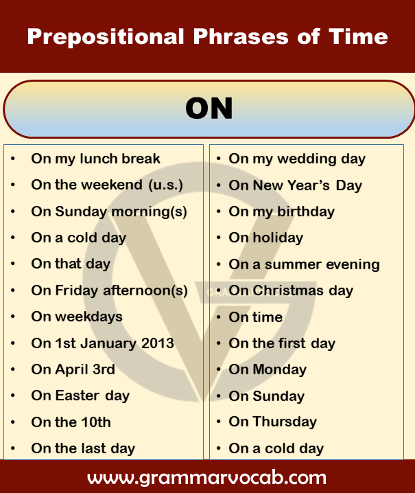 prepositional phrases of time