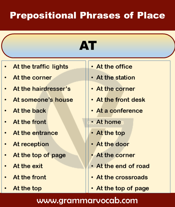 prepositional phrases of place