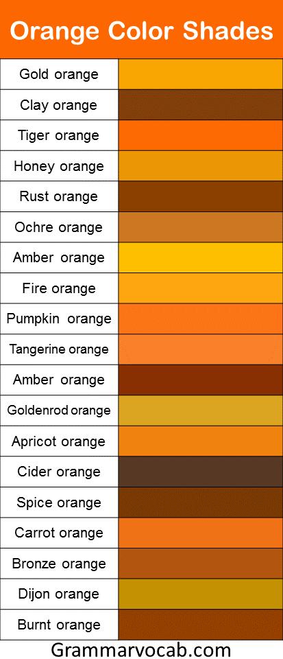 Orange color shades