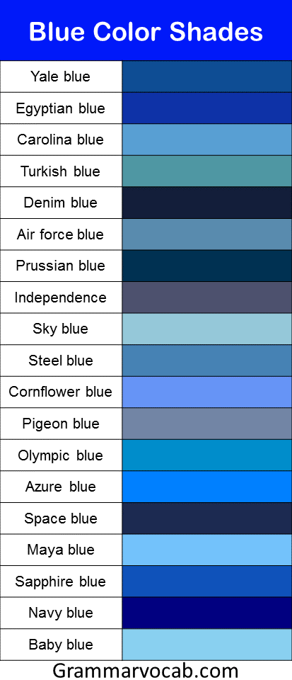 Blue color shades