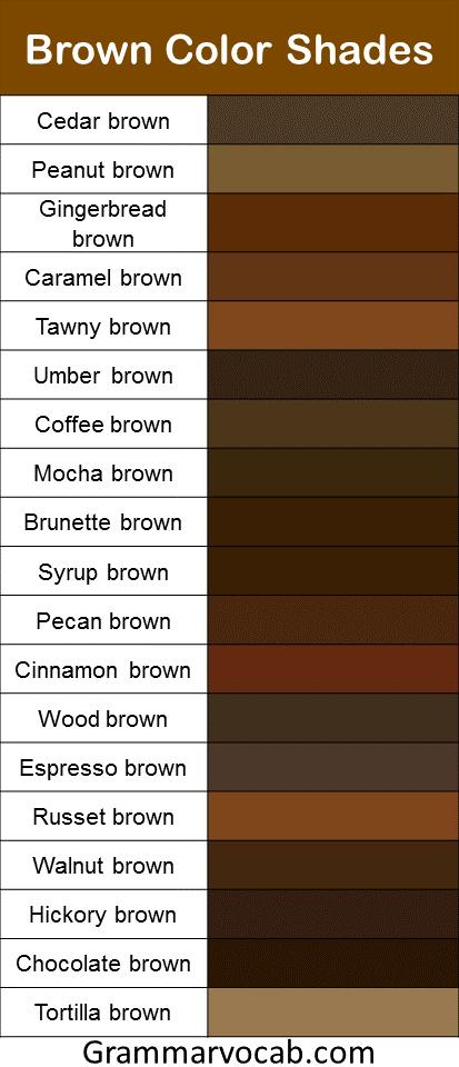 Brown color shades