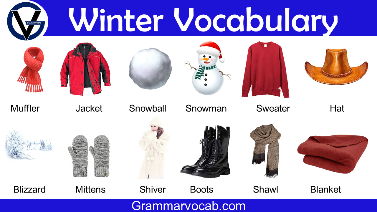 Winter Vocabulary Words with Pictures