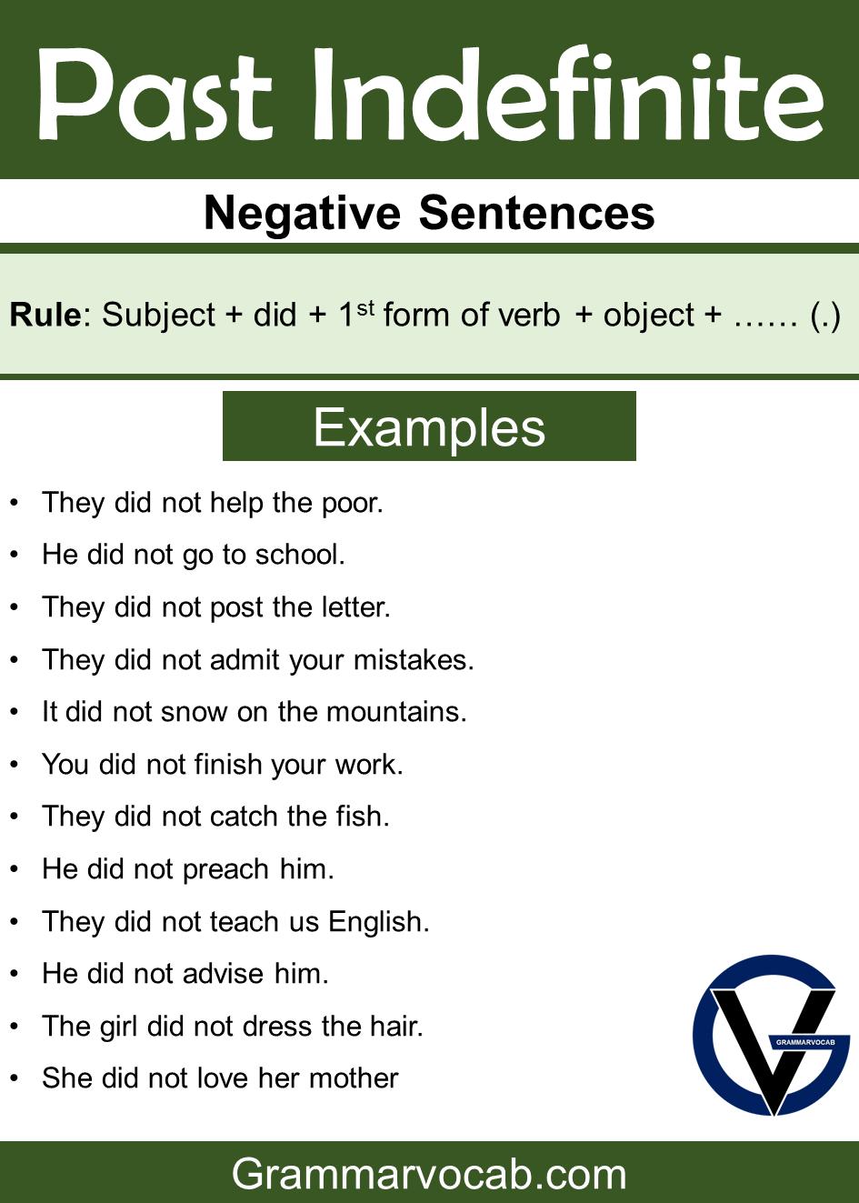 past indefinite tense negative sentences